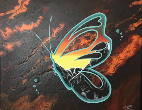 Butterfly, Fluorescent, Glowing Indigenous Painting, Acrylic on Canvas Board