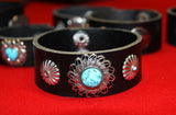 Indigenous Leather Bracelet with Metal Flower Decoration