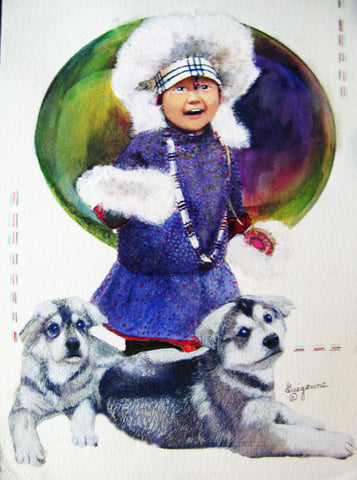 """Inuit Girl with her Puppies"", Original Native Canadian Painting"