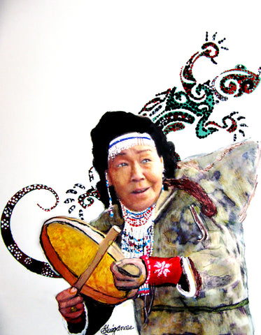"""Woman Katuk - Drum Beater"", Original Native Canadian Painting"