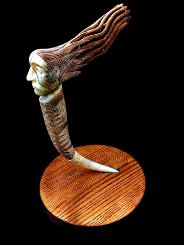"""Tadodaho"" Carving on Elk Antler (Commission)"