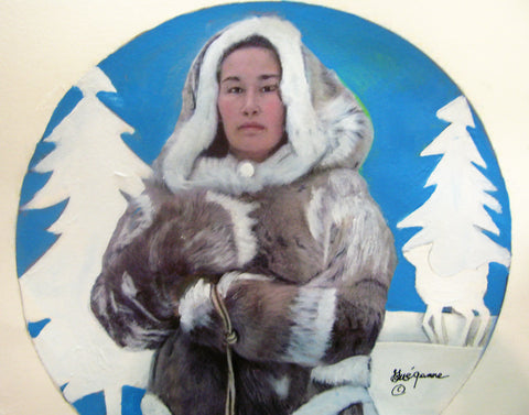 """Inuit Goddess of Fertility"", Original Native Canadian Painting"