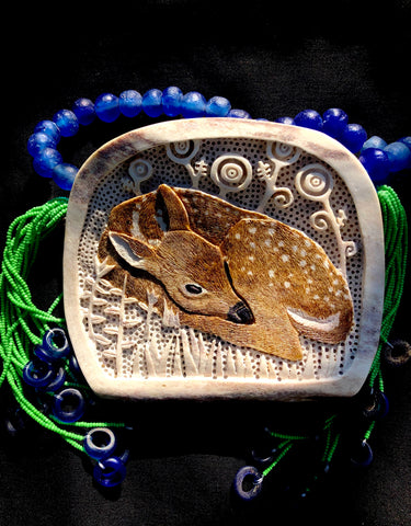 """Living in Two Worlds"" Carved Medallion on Moose Antler"