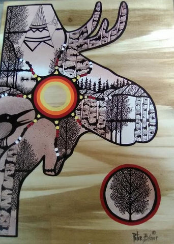 The Journey of a Bull-Moose, Indigenous Painting, Acrylic and Ink-work on Board Panel