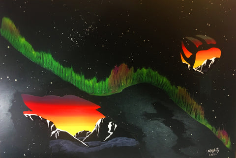 Night Call, Aurora, Fluorescent Indigenous Painting, Acrylic on Canvas