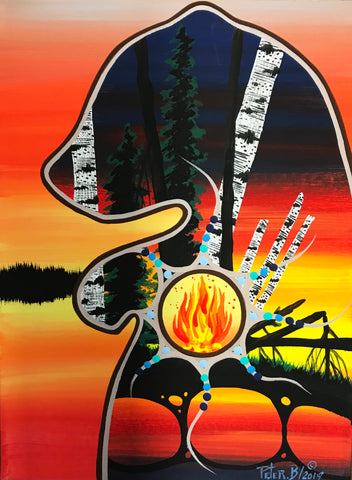 The Protector Bear at Twilight, Indigenous Painting, Acrylic on Canvas with Pencil Shading