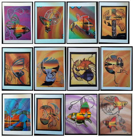 Set of 10 Cards, Prints of Original Indigenous Paintings