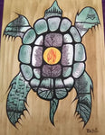 The Turtle, Indigenous Painting, Acrylic and Ink-work on Board Panel