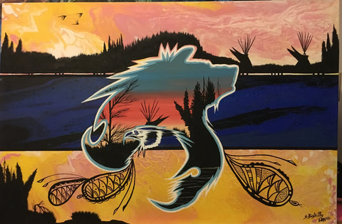 Strength, Wolf & Eagle, Fluorescent Glowing Painting, Acrylic on Canvas