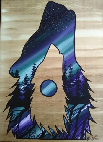 The Wolf in Northern Lights, Indigenous Painting, Acrylic on Board Panel