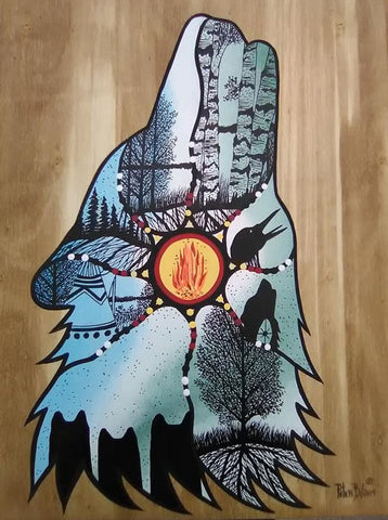 The Wolf's Journey, Indigenous Painting, Acrylic and Ink-work on Board Panel