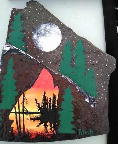 The Wolf by the Mountains and a Lake, Indigenous Painting, Acrylic on Slate Rock