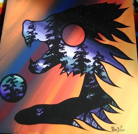 The Wolverine Spirit, Indigenous Painting, Acrylic on Canvas