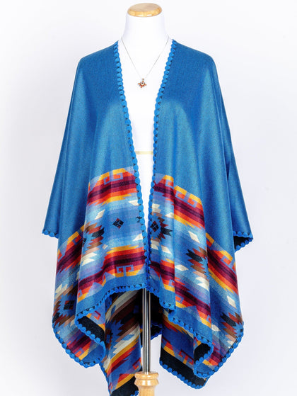 Reversible Hand-woven Pashmina Wool Poncho, Ethnic Style