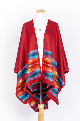 Hand-Woven Pashmina Reversible Wool Poncho, Ethnic Style