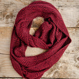 Soft Hand-Knitted Wool Infinity Scarf (Burgundy)