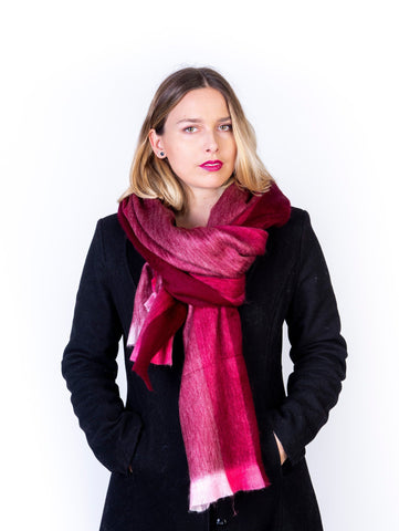 Alpaca Wool Shawl / Scarf, Chic Oversized Burgundy Stripes