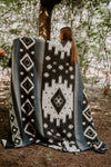 Tribal Traditional Warm Alpaca Wool Boho Throw Blanket (Queen)