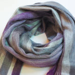 Alpaca Wool Shawl or Scarf, Grey & Lilac Stripes