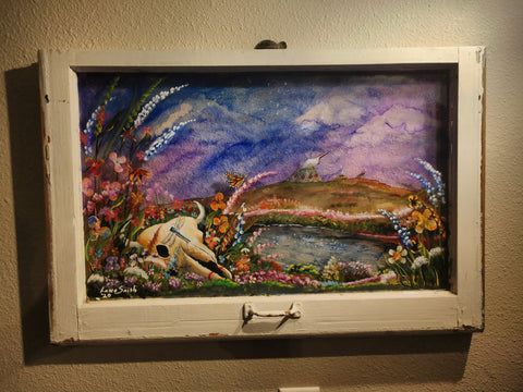 """Spring on the Prairie"" Painted Original Old Window Frame"