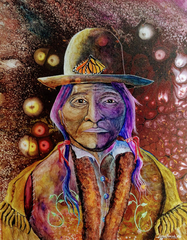 """Sitting Bull Spirit Orbs"" Native Original Painting"