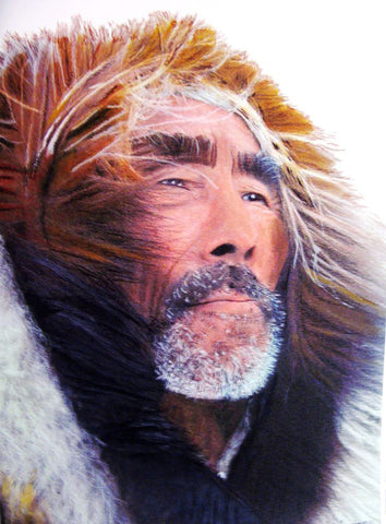 """Inuit Hunter - Provider to his People"", Native Canadian Painting"
