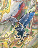 Freedom, Hummingbird, Fluorescent Indigenous Painting, Acrylic on Canvas