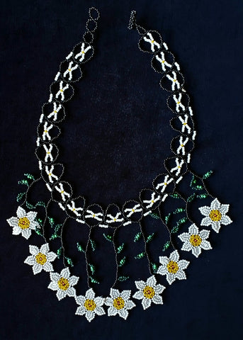 Mayan Indigenous Beaded Multicolour Necklace with White Flowers