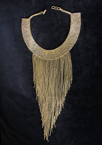 Mayan Style Beaded Gold Indigenous Necklace