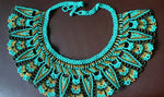 Mayan Style Beaded Turquoise Chocker, Indigenous Jewelry