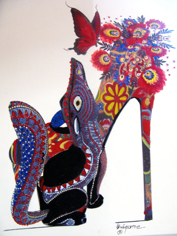 """Shoes with attitude!"", Original Native Canadian Painting"