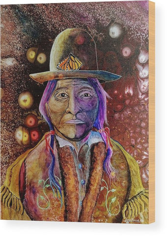 Sitting Bull Spirit Orbs, Native Artwork - Wood Print