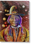Sitting Bull Spirit Orbs, Native Artwork - Greeting Card