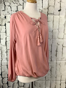 Umgee V-Neck Tassel Top