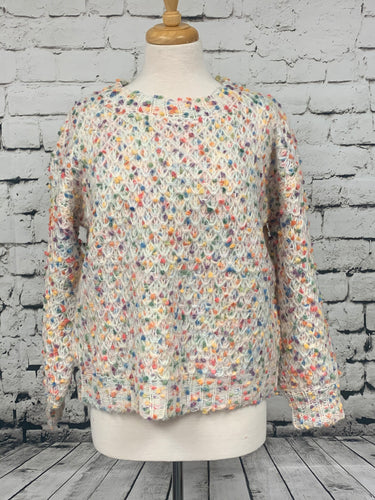 Loveriche white  crop sweater with multi color accents