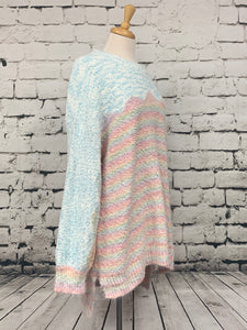 ODDI Plus size multi-pastel popcorn thread drop shoulder sweater