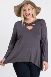 Realize V Neck Cross Sharkbite Hem Top
