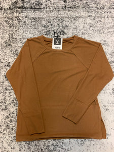Very J long sleeve top camel