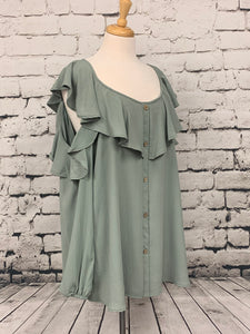 ODDI Long sleeve ruffled cold shoulder blouse in Sage.