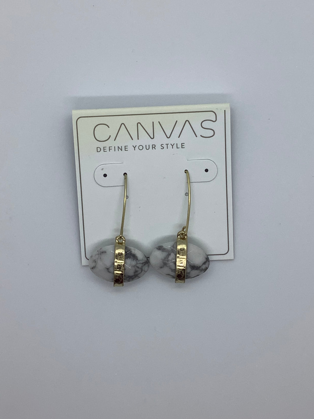 Canvas Marble Gem Earrings