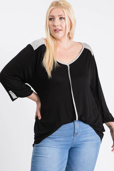 Realize Contrast Knit Blouse