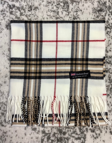 Cashmere Scarf (White Plaid)