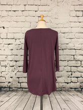 Load image into Gallery viewer, Zenana three-quarter sleeve shirt eggplant