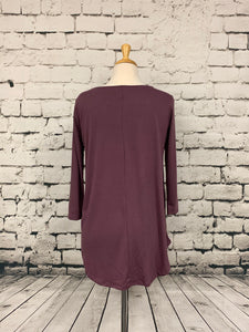 Zenana three-quarter sleeve shirt eggplant