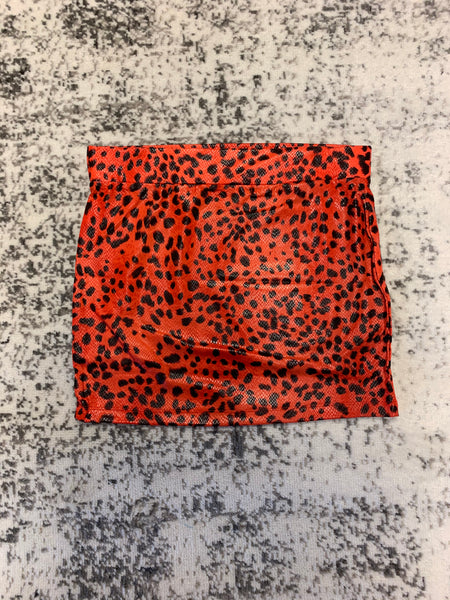 Zenana  red leopard print mini skirt