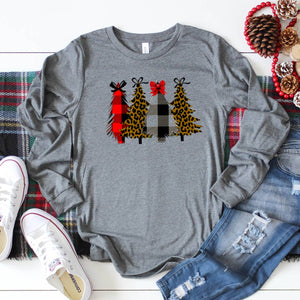 Christmas Trees with Bows- Long Sleeve