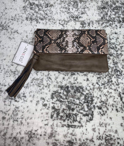 Jen&Co. Snakeskin Clutch