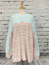 Load image into Gallery viewer, ODDI Plus size multi-pastel popcorn thread drop shoulder sweater