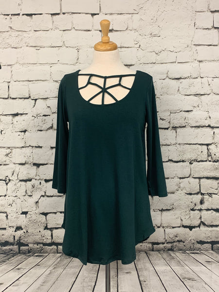 Zenana three-quarter sleeve tunic with front detail hunter green
