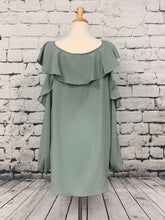 Load image into Gallery viewer, ODDI Long sleeve ruffled cold shoulder blouse in Sage.